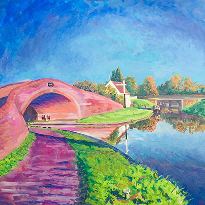 Canal Bridge at Great Haywood . Acrylic On Canvas by Fine Artist Richard Bostock