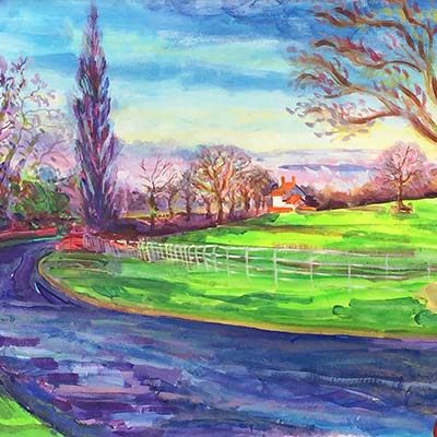 A bright winter's morning on Holdiford Road. Acrylic on Canvas by Richard Bostock
