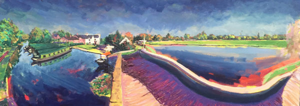 Autumn sunshine intensifies colour relationships. Acrylic On Canvas by Fine Artist Richard Bostock