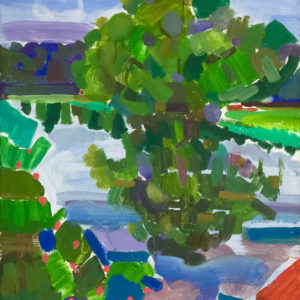 Tixall Wide Oil On Canvas by Fine Artist Richard Bostock