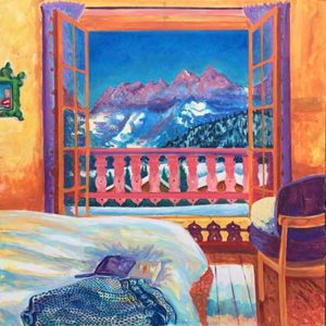 Les Dents Du Midi and my bedroom. Acrylic on Canvas by Richard Bostock