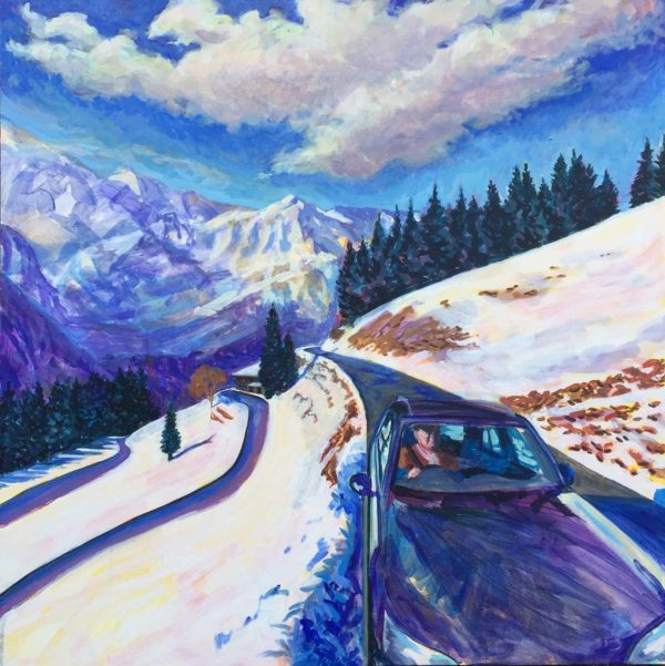 On The Road to Val D'illiez. Acrylic on Canvas by Richard Bostock