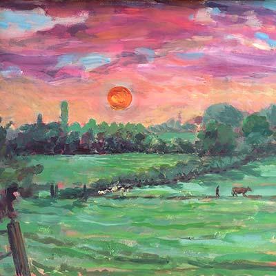 Sunset Richard Bostock Fine Art Staffordshire