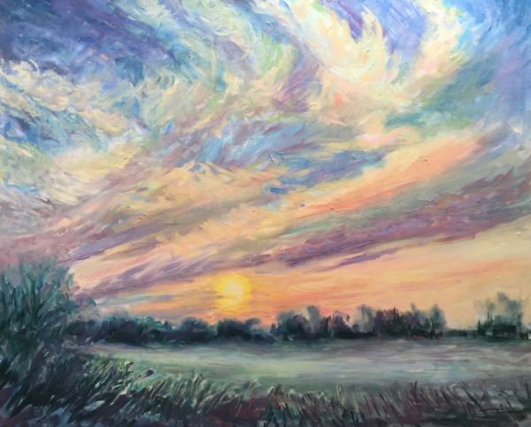 Sunrise Over Colwich. Acrylic on Canvas by Richard Bostock