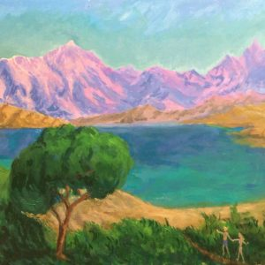 The Land of Far Beyond. Acrylic on Board by Richard Bostock